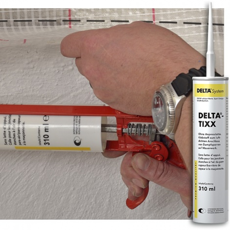 DELTA-TIXX клей для пароизоляционных плёнок к дереву, кирпичу и бетону